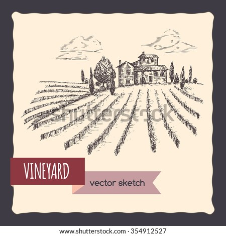Vineyard and cottage landscape hand drawn vector sketch. Great for vine and travel ads, brochures, labels. - stock vector