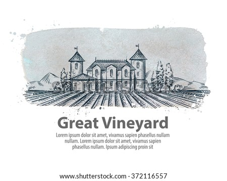 vineyard, winery vector logo design template. harvest, crop, yield or farming icon - stock vector