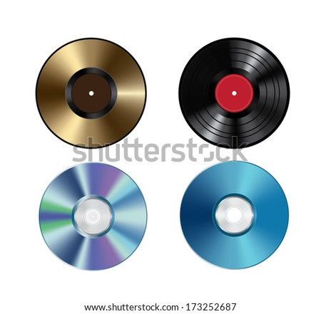 Vinil disc and CD - stock vector
