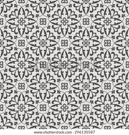 Vintage abstract floral seamless pattern. Intersecting curved elegant stylized leaves and scrolls forming abstract floral ornament in Arabic style. Arabesque. - stock vector