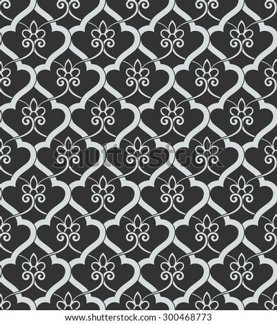 Vintage abstract floral seamless pattern. Intersecting curved elegant stylized leaves and scrolls forming abstract floral ornament in Arabic style. Arabesque. Decorative lattice in Moroccan style. - stock vector
