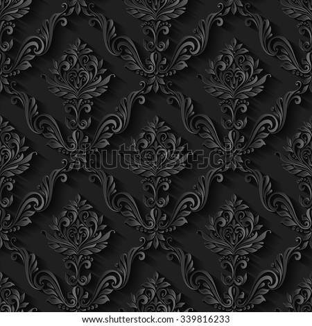 Vintage abstract pattern seamless background floral foliage - stock vector