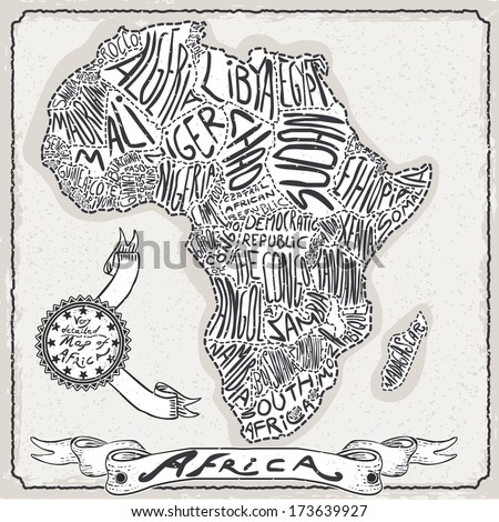 Vintage Africa Map Blackboard. Geographic African Chalk Board Map. Retro Vintage typography Africa. Chalk Handwriting African Map.Vintage Board Background Infographic Vector Image - stock vector
