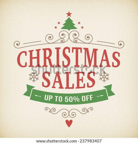 vintage after christmas sales poster vector background. layered. - stock vector