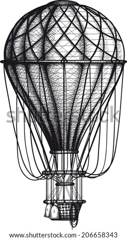 vintage Air Balloon drawn as engraving isolated on white background - stock vector