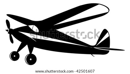 vintage airplane in black and white toner, vector mode - stock vector