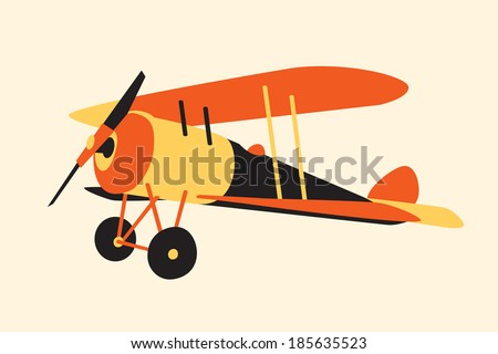 vintage  airplane,  WWI era - stock vector