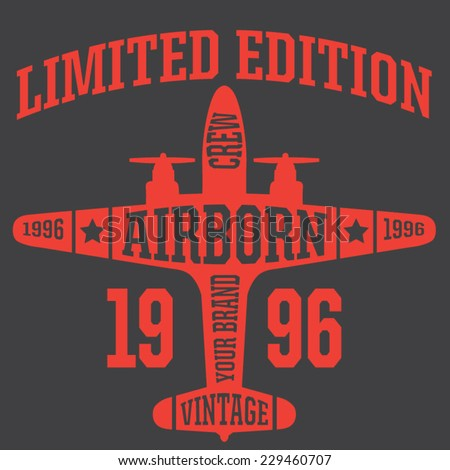 Vintage Airplanes typography, shirt graphics, vectors - stock vector