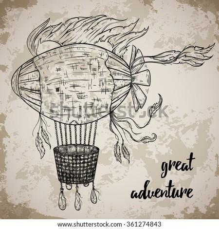 Vintage airship. Cartoon steampunk styled flying airship. Retro vector hand drawn illustration. - stock vector