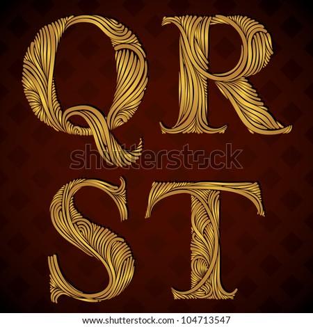 Vintage alphabet, floral letters q r s t. - stock vector