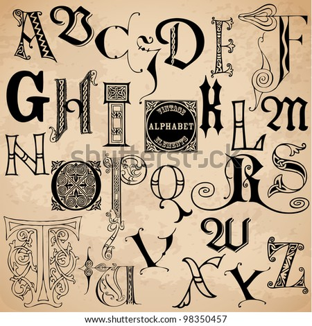 Vintage Alphabet - hand drawn in vector - High Quality - stock vector