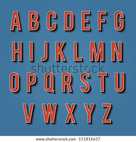 Vintage alphabet. Retro type font. 3d letters. Vintage letters for your design. Vector illustration EPS10 - stock vector