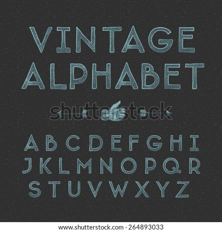 Vintage alphabet, vector illustration.  - stock vector