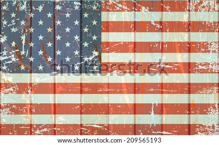 Vintage American flag on fence wood  - stock vector