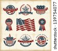 Vintage American labels set. Fully editable EPS10 vector. - stock vector