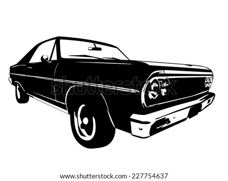 Vintage American Muscle Car Vector Silhouette - stock vector