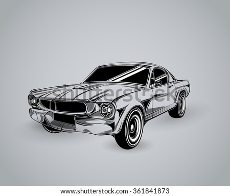 Vintage American Muscle Car Vector Silhouette. old school car. Muscle car. Print for poster or t-shirt. Muscle car templates for icons and emblems isolated on white background. - stock vector