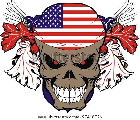 vintage American skull - stock vector