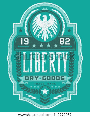 Vintage Americana Style Liberty Label Vector - stock vector