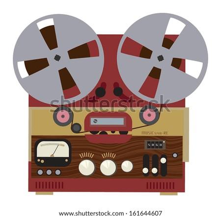 Vintage analog stereo reel to reel tape recorder, vector illustration - stock vector