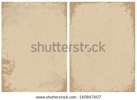 Vintage and distressed paper textures. Great for any vintage or grunge design. Distressed overlays are separated and easy to edit. - stock vector