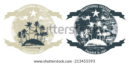 vintage and grunge summer shields - stock vector