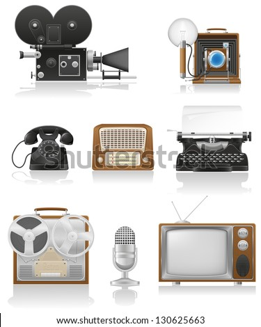 vintage and old art equipment set icons video photo phone recording tv radio writing vector illustration isolated on white background - stock vector