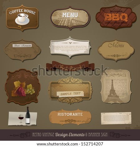 Vintage And Retro Design Elements, old papers, labels eps 10 - stock vector