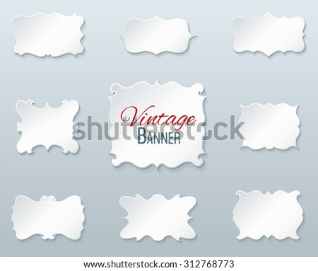 Vintage and simple vector labels set from paper. Flat illustration. - stock vector