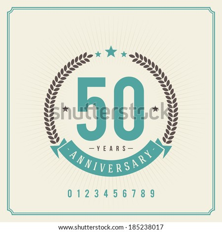 Vintage anniversary message emblem. Retro vector background.  - stock vector