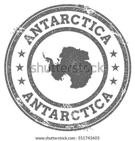 Vintage Antarctica stamp with continent name. Grunge rubber stamp map with Antarctica and Antarctica text, vector illustration - stock vector