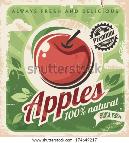 Vintage apple poster - stock vector