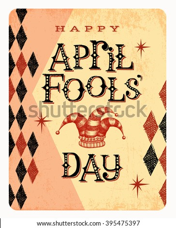 Vintage April Fools Day card or banner design - stock vector