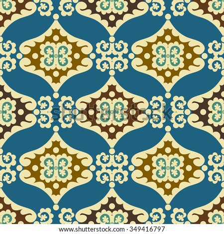 Vintage arabic and islamic background, ethnic style ornaments, modern ornamental seamless pattern, decorative vector wallpaper, fashion fabric and wrapping paper with graphic elements for design - stock vector