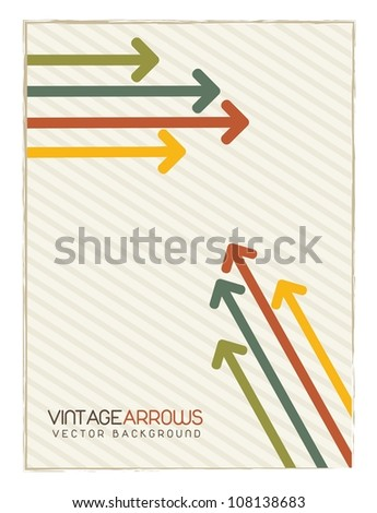 vintage arrows over brown background. vector illustration - stock vector