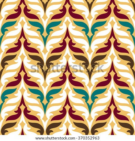 Vintage Asian background, beautiful ornaments, fashioned seamless pattern, arabic vector wallpaper, floral wrapping paper, swatch fabric for decoration and design - stock vector