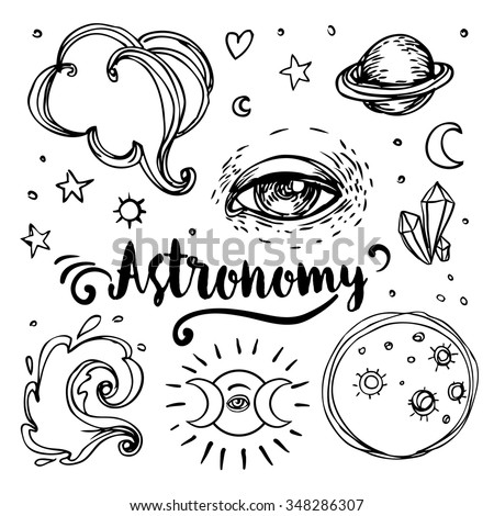 Vintage Astronomy: stars, moons, planets. Hand-drawn with ink. Aged medieval style. Invitation elements. Isolated vector illustration. Tattoo, astrology, alchemy, magic, space and nature symbol set. - stock vector