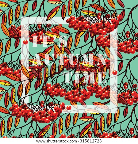 Vintage Autumn Berryand Leaves texture with text - stock vector