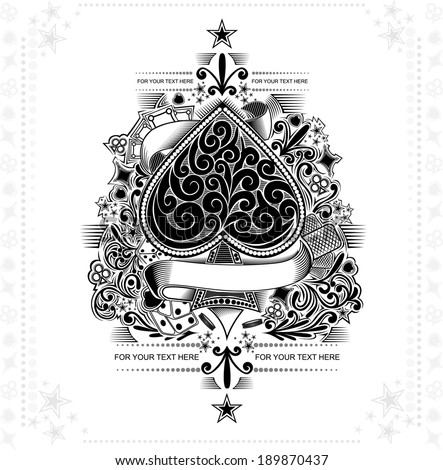 vintage background ace of spades - stock vector