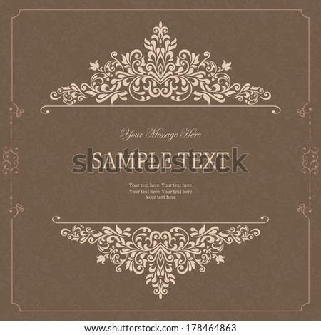 Vintage background, antique greeting card, invitation with victorian ornaments and vintage frame, beautiful, luxury postcard  - stock vector