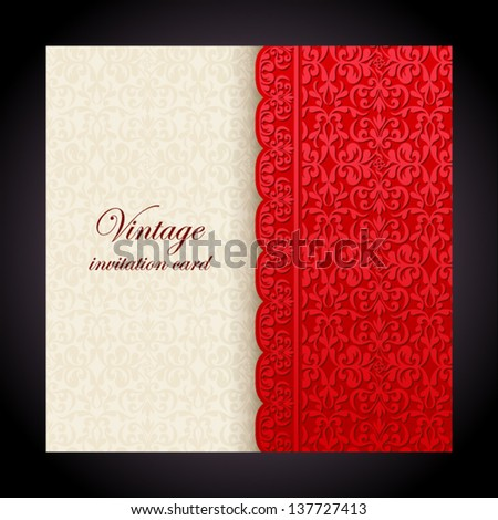 Vintage background, antique red greeting card, invitation with lace and floral ornaments, beautiful, luxury postcard, old paper, ornate page cover, ornamental vintage brochure template for design - stock vector