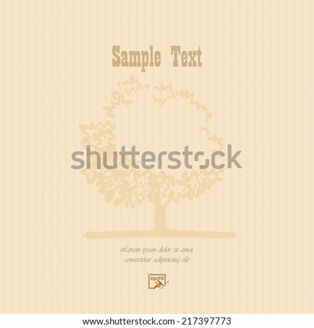 Vintage background cardboard/paper texture with stylized old tree in the rear. Careful handmade texture.  - stock vector