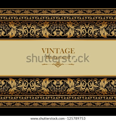 Vintage background, elegance antique, victorian gold, floral ornament, baroque frame, beautiful invitation, classical old style card, ornate page cover, label, royal luxury, ornamental pattern design - stock vector