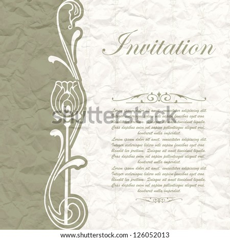 Vintage background for the invitation with flowers - stock vector