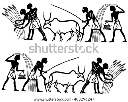 Vintage background in the Egyptian style. People in the field they reap and sow wheat on a white background. - stock vector