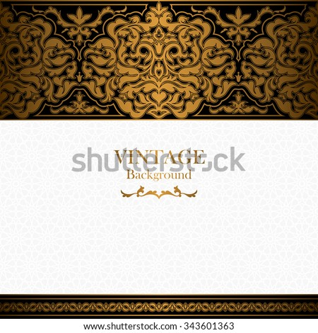 Vintage background, islamic style ornament, ornamental book cover with royal, invitation and greeting card with floral lace, ornate page cover, elegant pattern template, rich layout for design - stock vector
