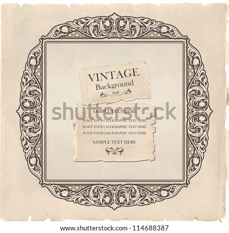 Vintage background, oldfashioned, ripped, grungy paper, ornate, royal, revival frame, old sticker, victorian ornament, floral luxury ornamental pattern template for decoration and design - stock vector