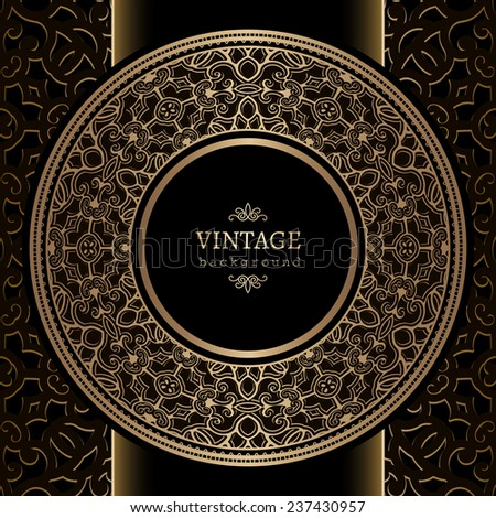 Vintage background, ornamental round frame, vector gold label template - stock vector