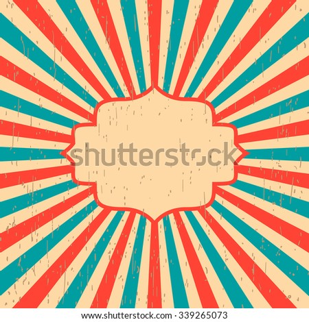 Vintage background rays of the sun. Vintage, grunge style. Label design a poster for text blue red vector - stock vector