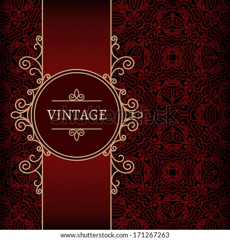 Vintage background, vector gold label over red pattern, ornamental frame template - stock vector